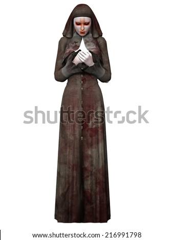 Halloween Creature - Bloody Nun - stock photo
