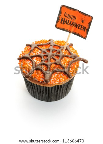 Halloween cupcake with decoration isolated on white - stock photo