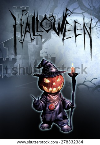 Halloween dark illustration with Jack O Lantern on the background of ancient castle