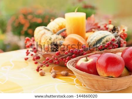Halloween decor in a autumn garden - stock photo