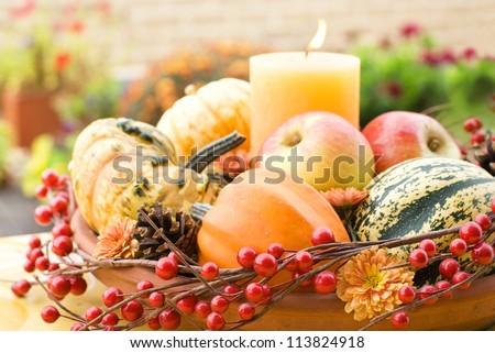 Halloween decor in a garden - stock photo