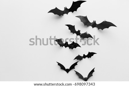 halloween decoration and scary concept black bats flying over white background