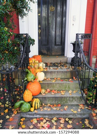 Halloween decoration in front of the house - stock photo
