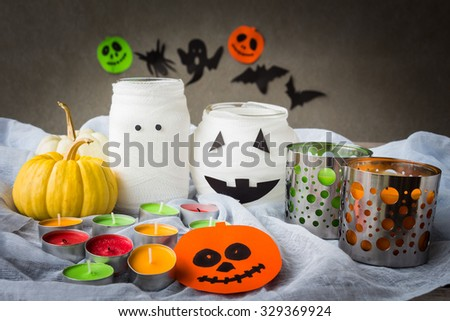 Halloween decoration on table, selective focus, rustic style