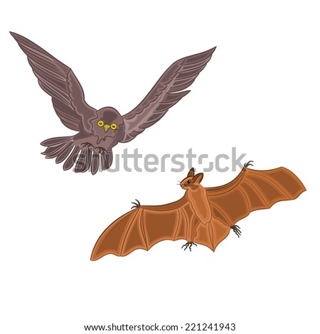 Halloween decoration owl and bat horror set there is also a format eps