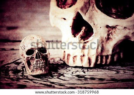 Halloween decoration with skull on wooden background - stock photo