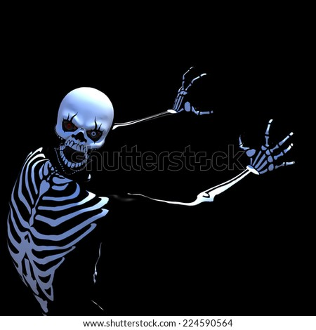 Halloween Demon Skeleton - a zombie in a skeleton costume. Isolated on a black background. Happy Halloween. - stock photo