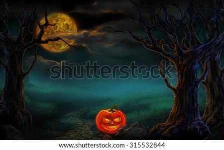 Halloween design - Forest pumpkins. Horror background. - stock photo