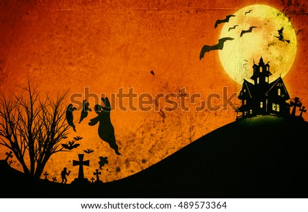 Halloween design : Landscape horror orange tone for halloween background.