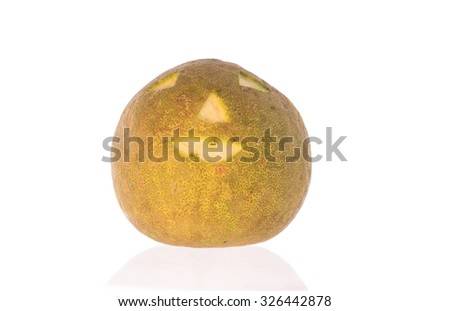 Halloween design - pomelo. Horror background with white,  Space for your Halloween holiday text - stock photo