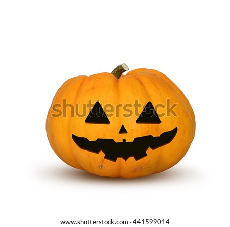 halloween festival, isolated carved evil orange pumpkin. clipping path included