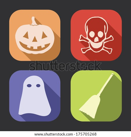 Halloween flat design, long shadow icons collection (set). - stock photo