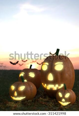 Halloween flyer design template with pumpkin - stock photo