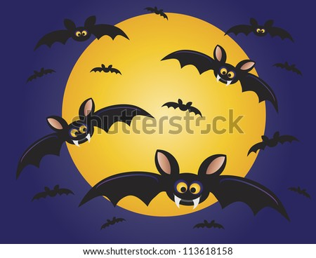 Halloween Flying Bats with Moon Background Raster Vector Illustration