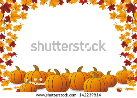 Halloween frame with pumpkin and falling maple leaves