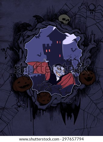 Halloween frame with pumpkins, rat, spider web, bats and illustration of Count Dracula
