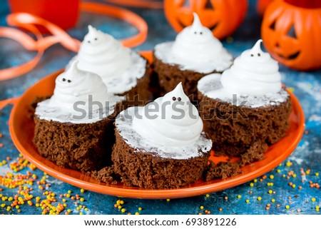 Halloween Funny Ghost Brownies Traditional Halloween Stock Photo ...