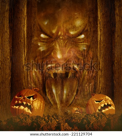 Halloween ghost concept as a creepy scary phantom appearing through a dark haunted forest with jack o lantern pumpkins on an autumn night . - stock photo