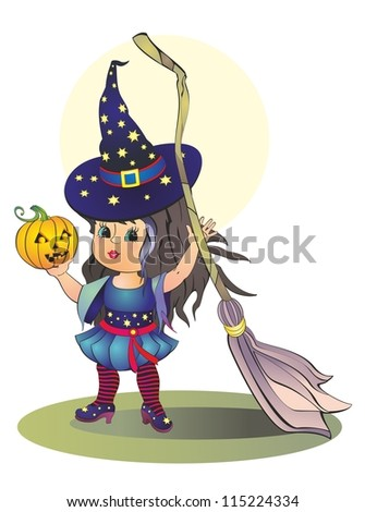 Halloween girl in a hat with a broom and pumpkin