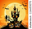 Halloween Greeting Card with Castle on Full Moon Background, vector illustration - stock vector