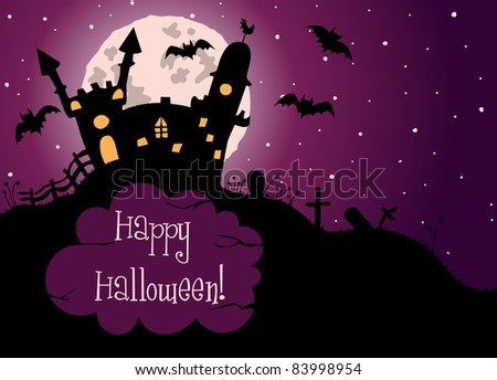 Halloween greeting card with moon, castle, bats and cemetery - stock photo