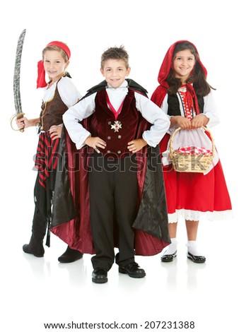 Halloween: Group Of Kids Ready For Halloween Fun - stock photo