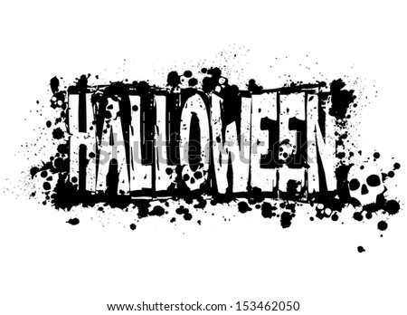 Halloween grunge silhouette background/Halloween grungy silhouette background with hidden skulls, black ink isolated on white  - stock photo