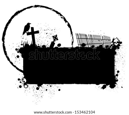 Halloween grunge silhouette background/Halloween grungy silhouette background with hidden skulls, graveyard and crow, black ink isolated on white - stock photo