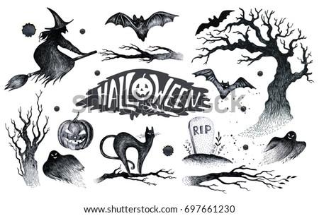 Halloween Hand Drawing Black White Graphic Stock Illustration ...