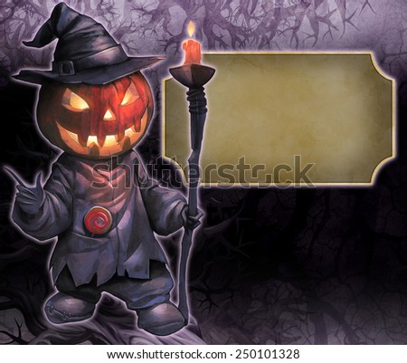 Halloween hand drawn illustration with Jack O Lantern on the dark textured background