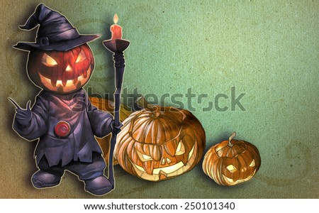 Halloween hand drawn illustration with Jack O Lantern on the textured background with carved pumpkins - stock photo
