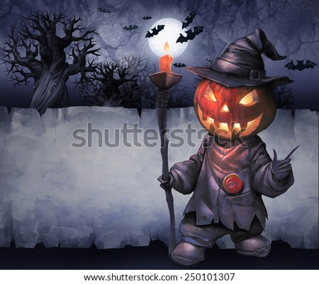 Halloween hand drawn illustration with Jack O Lantern on the textured night background with paper scroll