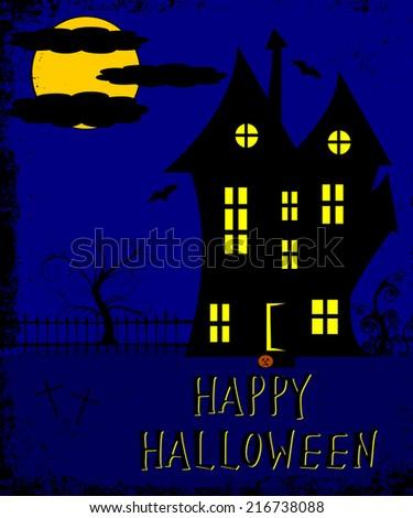 halloween haunted house abstract design  - stock photo