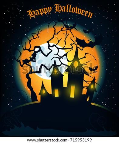 Halloween haunted house bats on full stock illustration 715953199 halloween haunted house with bats on full moon background illustration happy halloween message m4hsunfo