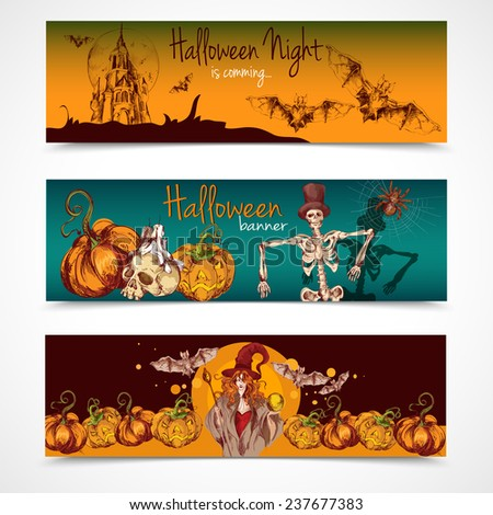 Halloween holiday celebration traditional colored spooky sketch banners horizontal set isolated  illustration