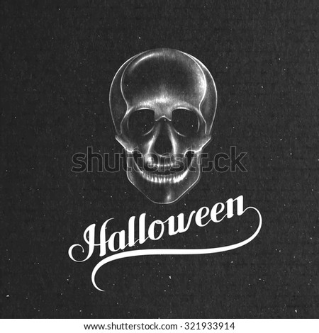 Halloween. Holiday Illustration. Lettering Composition With Skull - stock photo