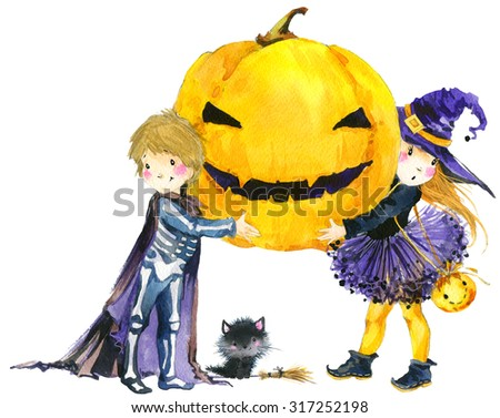 Halloween holiday little girl witch, skeleton boy, black cat,  and Halloween pumpkin. Watercolor illustration background for holiday Halloween. - stock photo