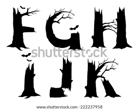 Halloween horror alphabet letters FGHIJK - stock photo