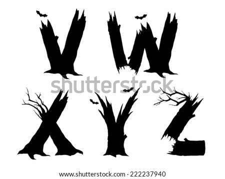 Halloween horror alphabet letters VWXYZ - stock photo