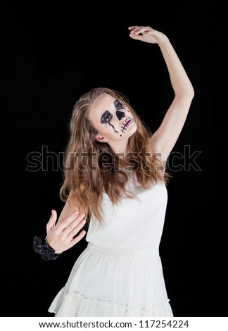Halloween: Horror scene of a corpse bride standing - stock photo