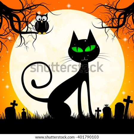 Halloween illustration - black cat and an owl.