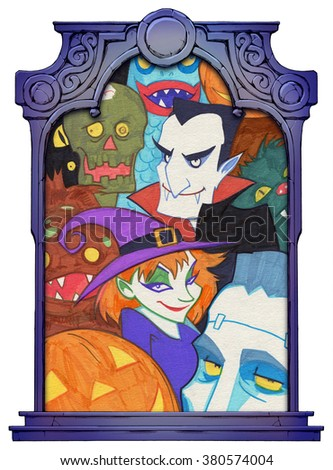 Halloween illustration framed with a stone decorated hand drawn arch