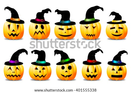 Halloween illustration - Jack-o-Lanterns - stock photo