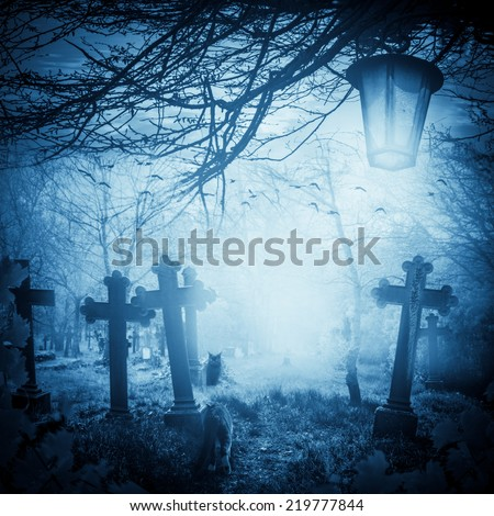 Halloween illustration: night at the cemetery. Old graves, cats and lanterns - stock photo