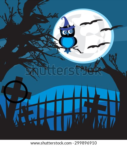 Halloween illustration owl on moon background. - stock photo