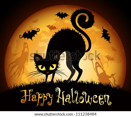 Halloween illustration with black cat on moon background. Check my portfolio for vector version. - stock photo