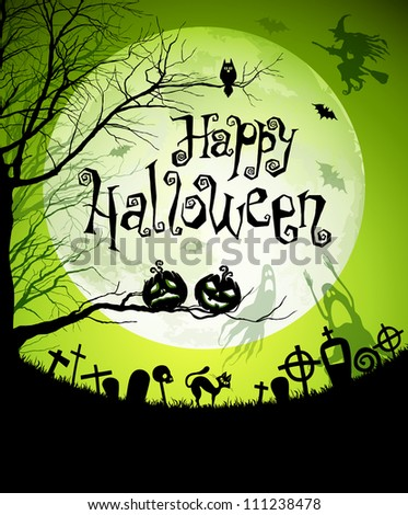 Halloween illustration with black silhouettes on moon background. Check my portfolio for vector version. - stock photo