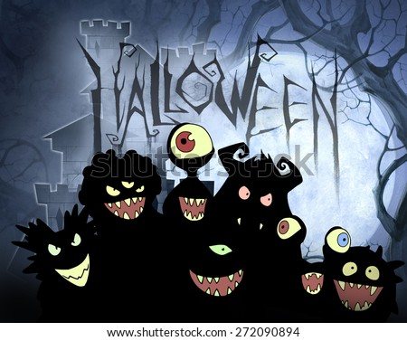 Halloween illustration with different monsters, aliens, devils and ghosts in black silhouette
