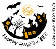 Halloween illustration with houses and bats on white background - stock photo