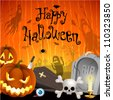 Halloween illustration with pumpkins, cemetery and place for text. Check my portfolio for vector version. - stock vector